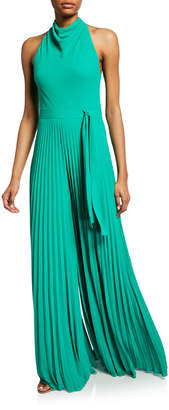Halston High Cowl-Neck Flowy-Leg Sleeveless Jumpsuit