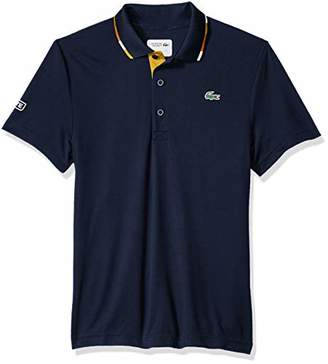 Lacoste Men's Short Sleeve Pique Ultra Dry with Multi-Color Collar Piping Polo