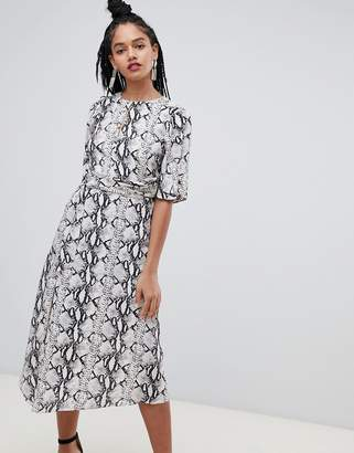 Miss Selfridge midi dress with metal trim in snake print