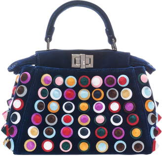 Fendi 'Mini Peekaboo - Multistuds' Velvet Bag