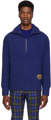 Burberry Navy Cashmere Trenton Half-Zip Sweater