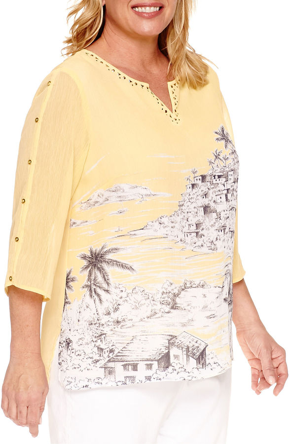 Alfred DunnerAlfred Dunner Seas The Day 3/4 Sleeve Split Crew Neck Woven Blouse-Plus