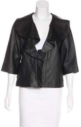 Rachel Zoe Ruffle-Accented Leather Jacket