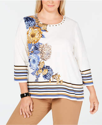 Alfred Dunner Plus Size Floral-Print Striped Top