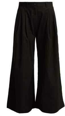 Nili Lotan Lisbon Wide Leg Cotton Twill Trousers - Womens - Black