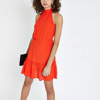 River Island Womens Red high tie neck swing dress