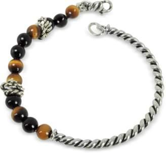 Giacomo Burroni Twisted Silver Bangle w/Beads