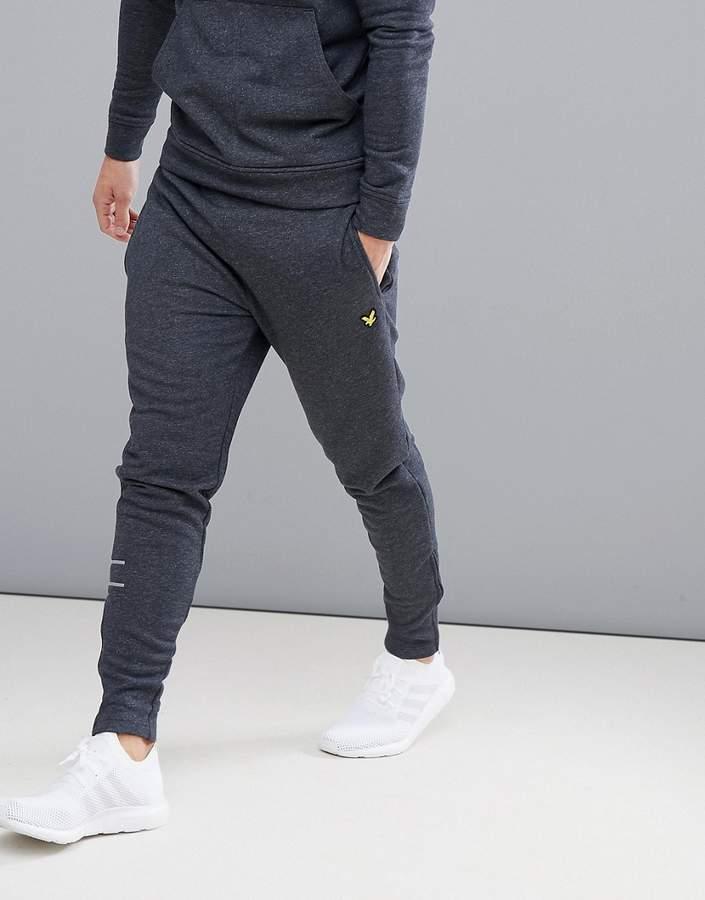 Lyle & Scott Fitness Lyle & Scott fitness slim leg yarlside running joggers in dark grey