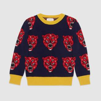 Gucci Children's tiger jacquard wool knit sweater