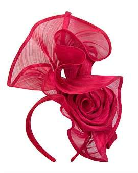 Aba'ca Fillies Collection Tall Red Twisted Real Silk Abaca Fascinator On Headband