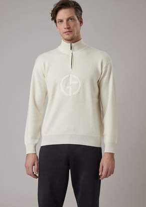Giorgio Armani Mock Neck Sweater With Zip In Cashmere With Logo Embroidered On The Front