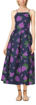 Michael Kors Lilac-Embroidered Silk and Wool Mikado Dress