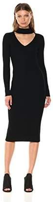 Max Studio Women's Long Sleeve Sweater Dress with Choker Neck