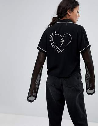 Lazy Oaf Beyond Repair Shirt With Heart Back