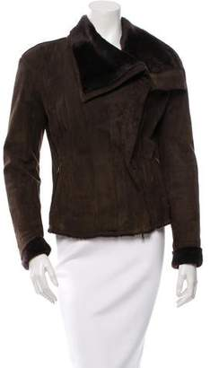 Lanvin Fur-Lined Suede Coat