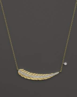 """Meira T 14K Yellow Gold Curved Leaf Necklace with Diamonds, 16"""""""
