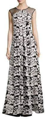 Kay Unger Floral Floor-Length Gown