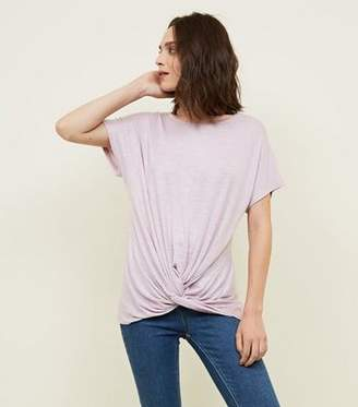 New Look Lilac Twist Front Fine Knit Top