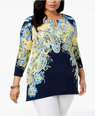 JM Collection Plus Size Printed Tunic Top, Created for Macy's