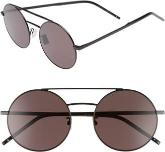 Saint Laurent SL 210/F 56mm Round Aviator Sunglasses
