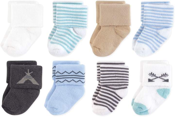 Touched by Nature 8-Pack Organic Cotton Teepee Terry Socks in Blue/White