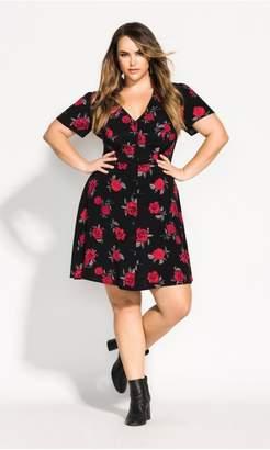 City Chic Citychic Rosie Posie Dress - black