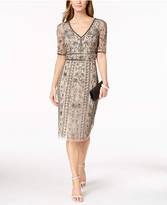 Adrianna Papell V-Neck Beaded Mesh Dress