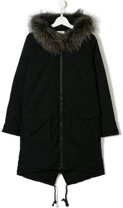 Douuod Kids TEEN fur-trimmed hood coat