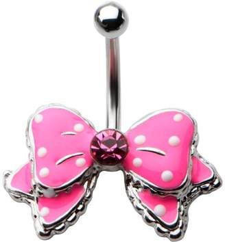 BODY ART Body Art Body Jewelry 14 Gauge Surgical Steel Belly Pink Bow with White Polka Dots