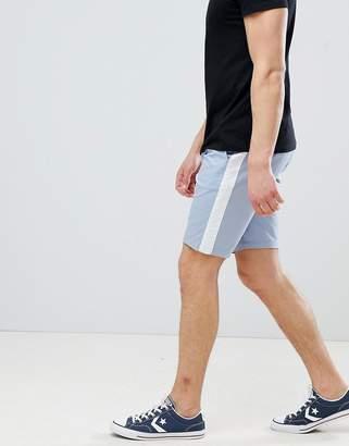 Asos Design DESIGN Skinny Chino Shorts In Light Blue With White Side Stripe