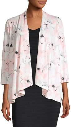Kasper Suits Floral Open-Front Cardigan