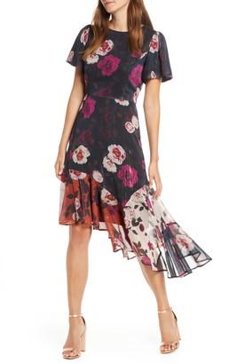 Forest Lily Metallic Floral Asymmetrical Hem Dress