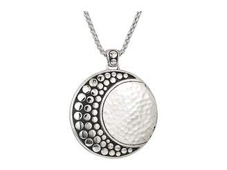 John Hardy Dot Moon Phase Hammered Pendant On 2 mm. Box Chain Necklace