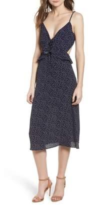 Rowa Row A Ruffle Tie Back Midi Dress