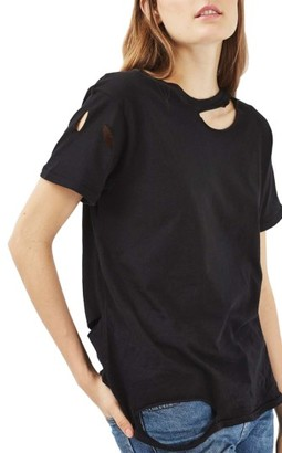 Women's Topshop Ripped Cotton Tee $26 thestylecure.com