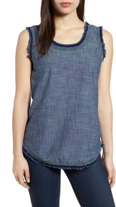 Kenneth Cole New York Frayed Chambray Tank