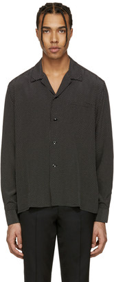 Saint Laurent Black Pyjama Collar Shirt $890 thestylecure.com