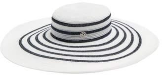 Maison Michel Bianca Straw Hat - Womens - White Navy