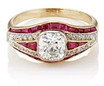 Stephanie Windsor Antiques Women's White-Diamond & Ruby Art Deco Ring-Gold