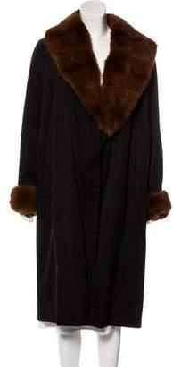 Saint Laurent Mink-Trimmed Long Coat