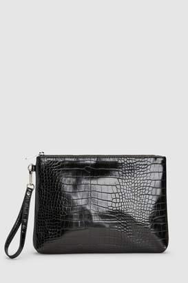 Next Womens Black Croc Effect Zip Top Clutch Bag