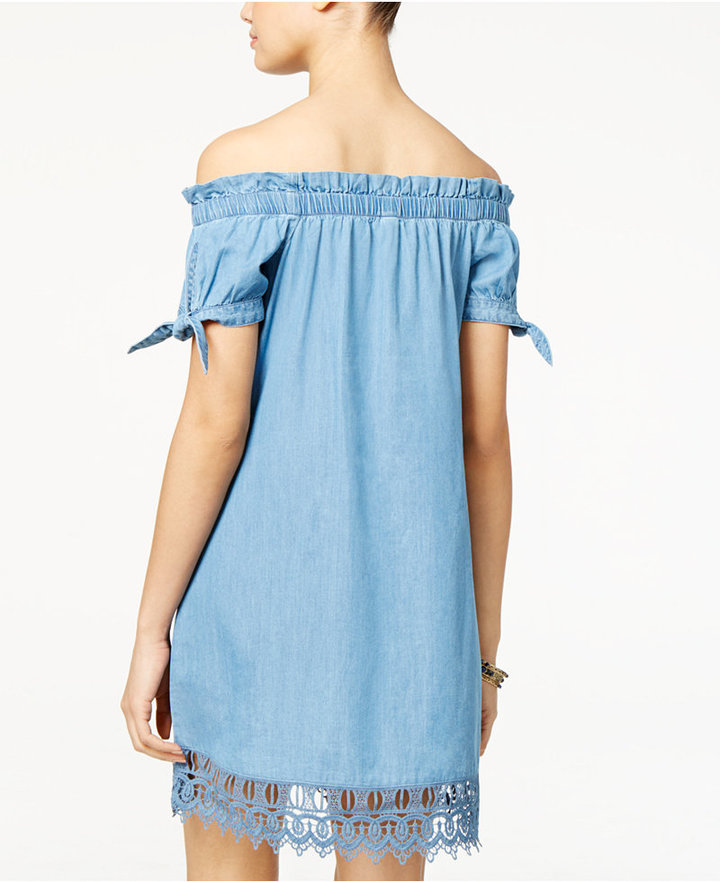 American Rag Tie-Sleeve Lace-Trim Chambray Shift Dress, Only at Macy's 2