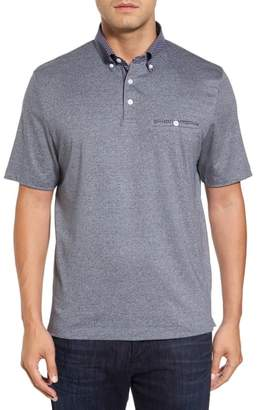 Thomas Dean Heathered Button Down Polo