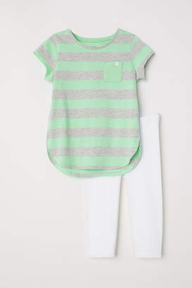 H&M Jersey Top and Leggings - Green