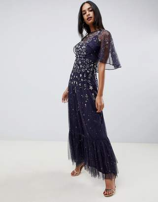 Asos Design DESIGN maxi dress with flutter sleeve in star embellishment