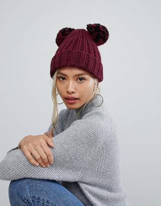 Helene Berman Double Pom Pom Hat in Black and Burgundy