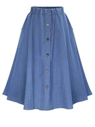 Shein Plus Button Front Flared Denim Skirt