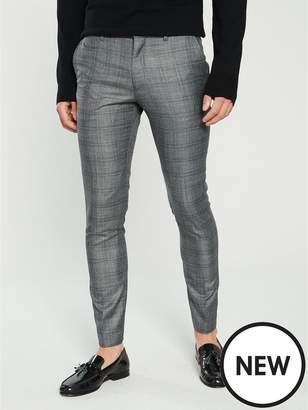 Slim Fit Check Suit Trouser - Grey