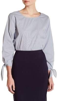 Vince Camuto Pinstripe Tie Sleeve Blouse