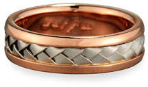 Gents Eli Center Weave Wedding Band Ring in Brushed Rose Gold & Platinum, Size 10.5